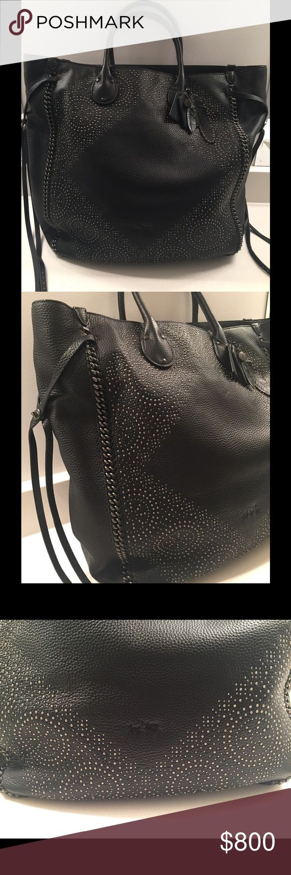 """Coach Travel Tote Coach Travel Tote - Travel in Style!  This is an amazing bag, with loads of finishes g details and mini metal studs.  Brand new with tags, never used.  Retail $1,295.00.  Dimensions: 15""""w. X 17.5""""h. x 6""""d. Comes with dust bag. Coach Bags Totes"""