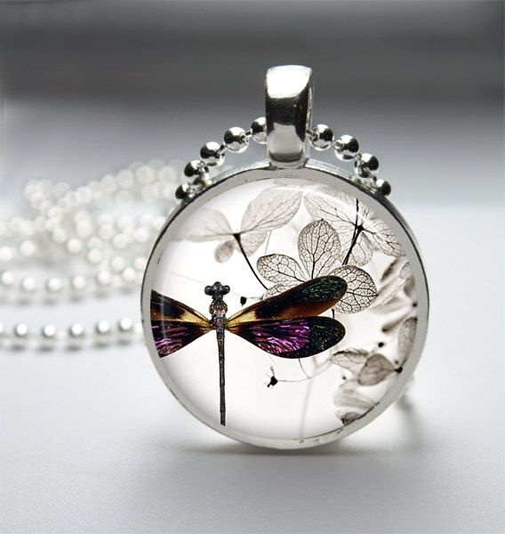 Dragonfly Necklace Dragonfly Pendant Dragonfly Jewelry Glass Cabochon Bezel Art Photo Pendant 222