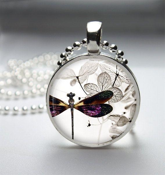 Dragonfly Necklace Dragonfly Pendant Dragonfly Jewelry Glass Cabochon Bezel Art Photo Pendant 222