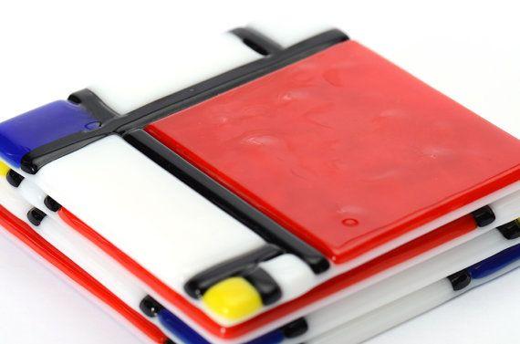 Mondrian inspired Fused Glass Coaster Set of 4 by Artdefleur, $32.00