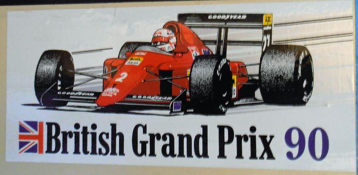 Souvenir sticker from the 1990 british grand prix british grand prixbumper stickersformula 1racingsouvenirbumper