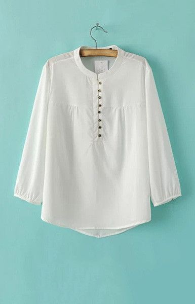 Specifications: Decoration:Button Clothing Length:Regular Pattern Type:Solid Sleeve Style:Regular Fabric Type:Broadcloth Material:Polyester Collar:Stand Sleeve Length:Three Quarter Size Shoulder Bust