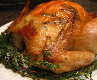 Herb roasted chicken in a Le Creuset dutch oven (or any roasting pan.) 450 degrees uncovered for about an hour... This blog looks like it has lots of great recipes.