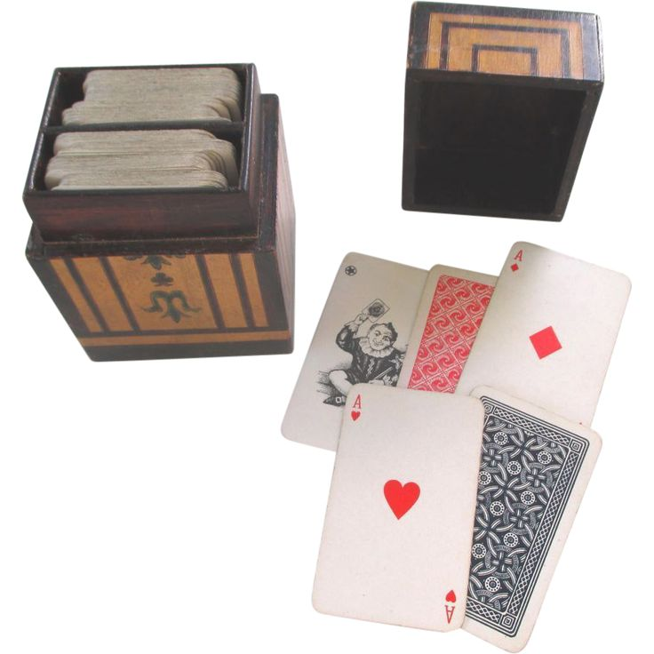 Victorian Bridge or Playing Card Decks and Wooden Box Holder c1890 from incantesimo on Ruby Lane