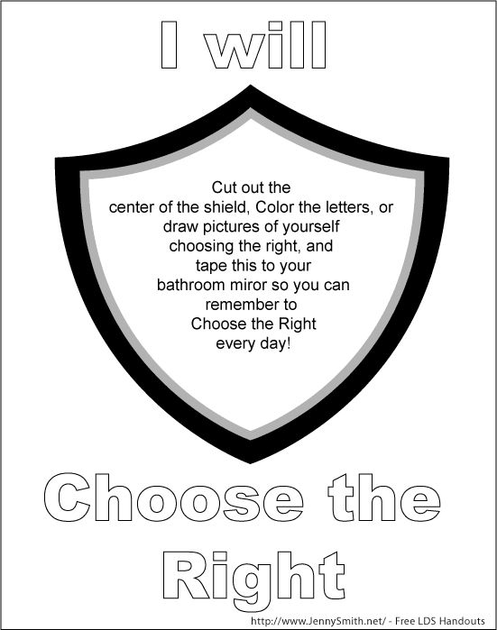 mormon share i will choose the right ctr shield mirror sign - Choose The Right Coloring Page