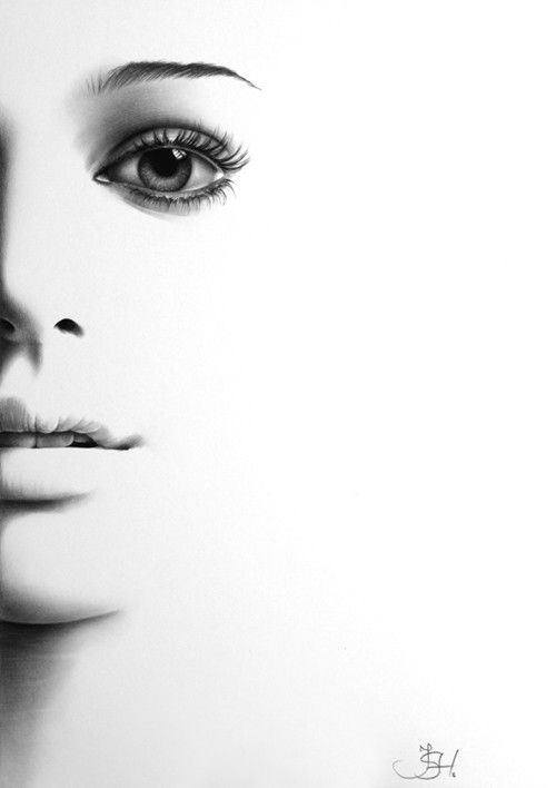 Natalie Portman Minimalism Pencil Drawing Fine Art Portrait Glamour Beauty Print Hand Signed