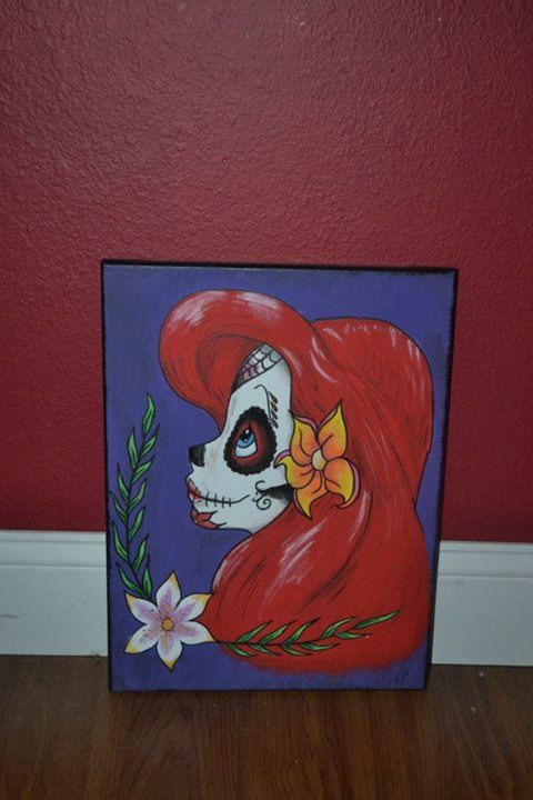Sugar Skull Disney Princess Painting Ariel by PrincessofHeart, $25.00... Sherri, please do this for me!!!!