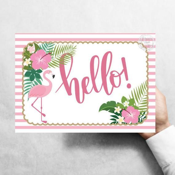 Hello Sign Pink Flamingo 7 X10 Striped Border Hibiscus Pink Flowers Ferns Metal Wreath Signs Affordable Wreath Signs In 2020 Wreath Sign Wreath Crafts Pink Flamingos