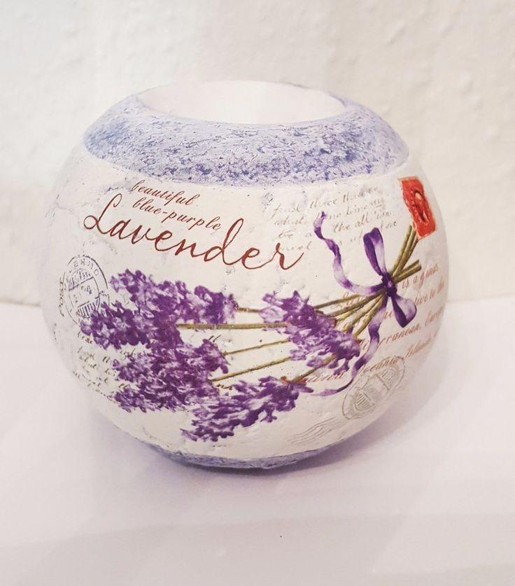 Teelichthalter Lavendel lila Dekor / Kerzenhalter rund Deko Blume Garten Balkon
