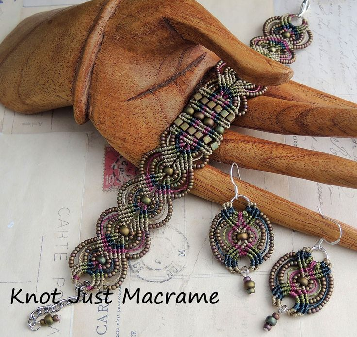 sherri stokey macrame | Micro macrame bracelet and earrings in raku colors by Sherri Stokey of ...