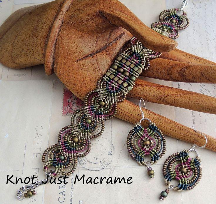 sherri stokey macrame | Micro macrame bracelet and earrings in raku colors by Sherri Stokey of ...