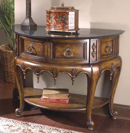 half circle console table w ornamental carvings circles carving and console tables. Black Bedroom Furniture Sets. Home Design Ideas