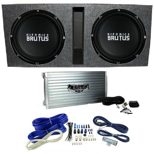 8: Hifonics BRZ15D4 Vented Bass Package - 2) 15-Inch Subwoofers, 2 Ch. Amp, Box & Wire
