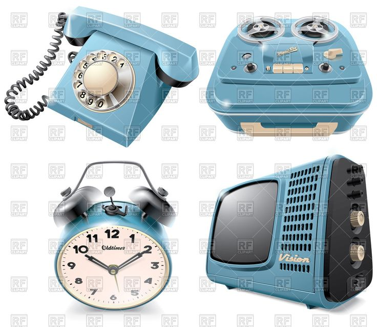Vector image of Vintage objects: rotary dial telephone, reel-to-reel audio tape recorder, alarm clock and television receiver, isolated on white background #125546 includes graphic collections of telephone, tv set, alarm clock and magnetophone. You can download this image in EPS and JPG format.