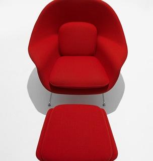 Relaxation Station--Knoll Studio Saarinen Womb Chair and Ottoman.