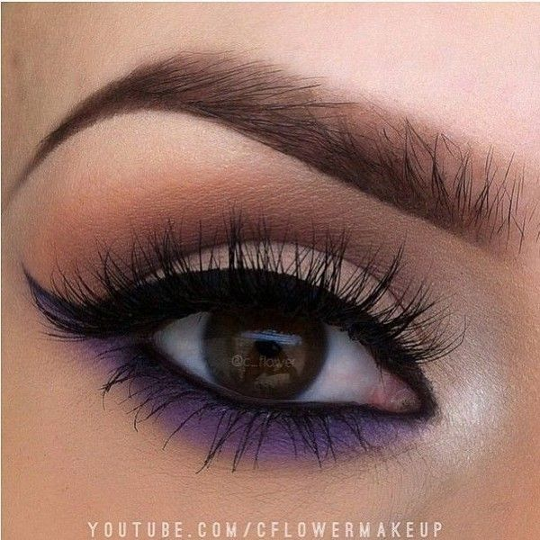 smoked out lower lash line purple is great for brown eyes #eye #makeup ❤ liked on Polyvore featuring beauty products, makeup and eye makeup