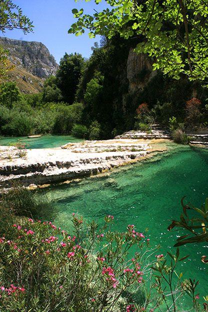 Freshwater lagoons - the Laghetti di Cava Grande del Cassibile - in the Cassibile River near Syracuse, Sicily.