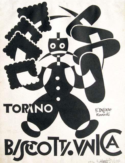Vintage Italian Posters ~ #illustrator #Italian #vintage #posters ~ Fortunato Depero (1892-1960), Biscotti Unica.