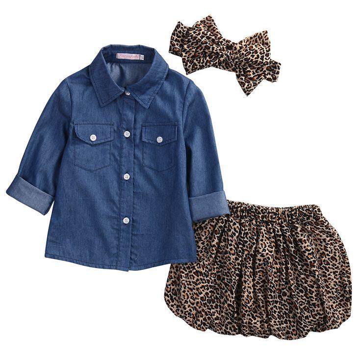 3 PC Set- Denim top + Leopard skirt + Headband