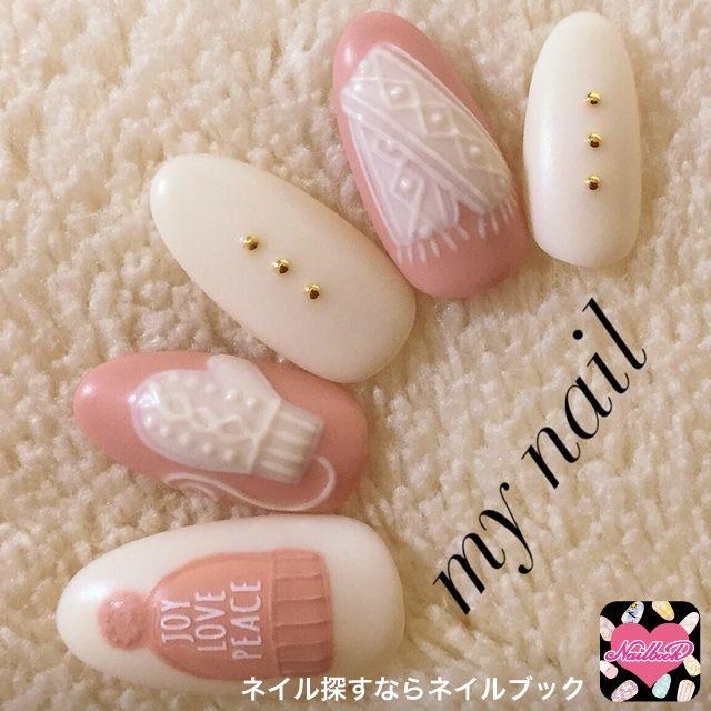 ネイル 画像  1257038 ホワイト ピンク ニット マット 冬 チップ ハンド ミディアム