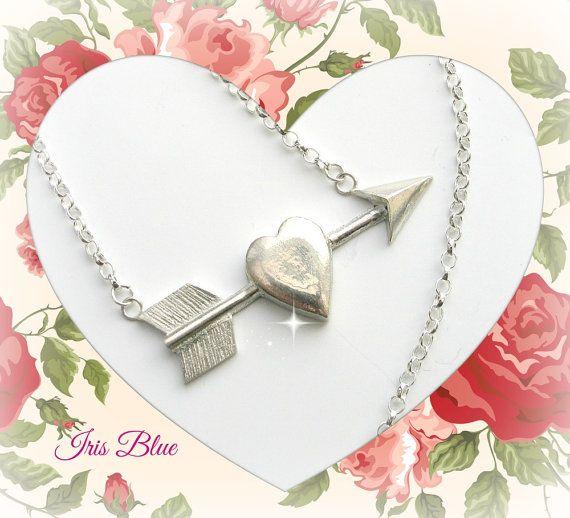 Silver Heart Necklace Tattoo Style Jewellery by AdienandIrisBlue