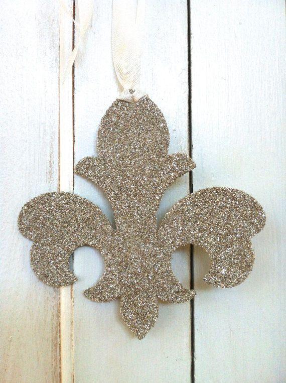 German Glass Glitter Fleur de Lis Ornament by MariesMarketplace, $7.50