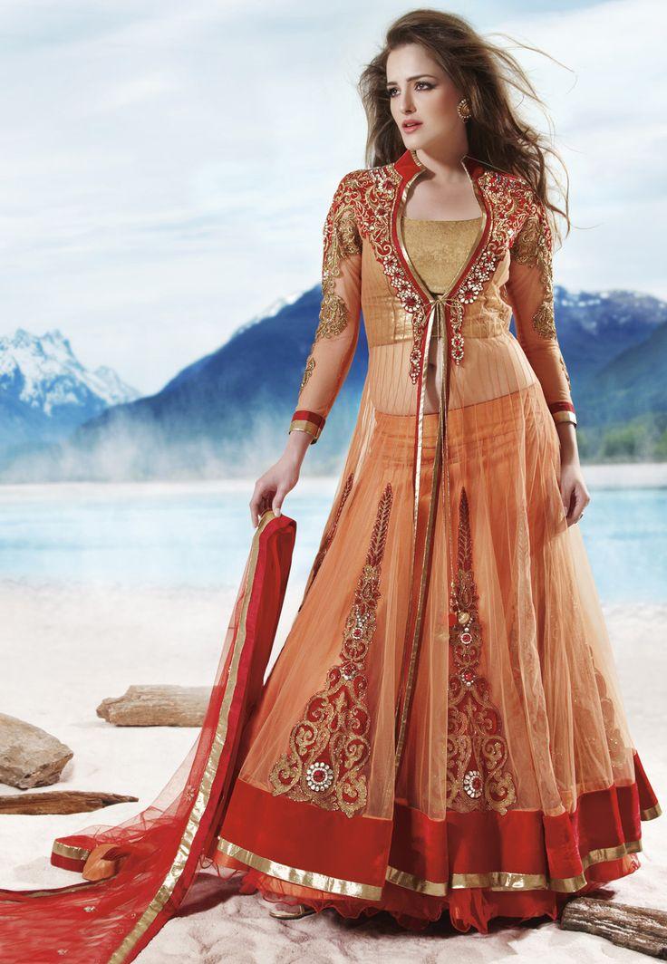Shaded #Orange Net #Lehenga #Choli With Dupatta @ $596.59
