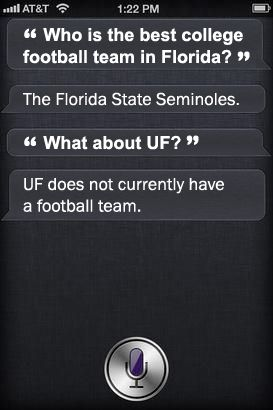 Siri is a Seminole.