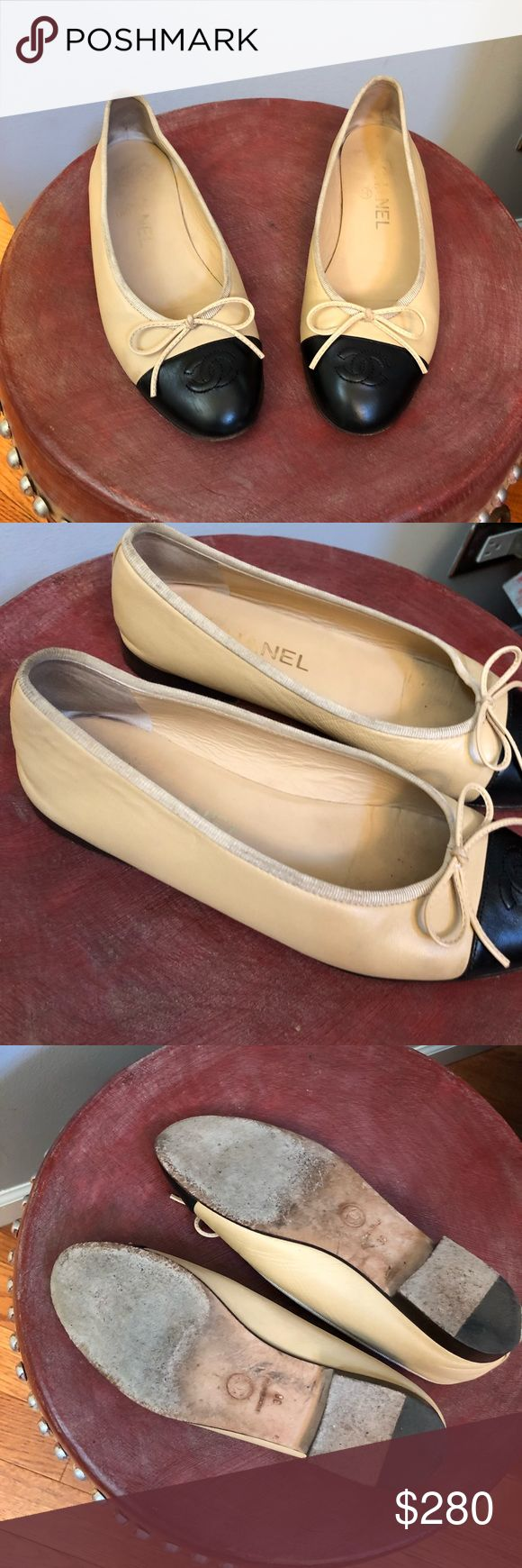 Chanel flats authentic !!!!! In pre owned condition .. needs some cleaning on fabric part .. has toe scratch very minor as seen on pic.. CHANEL Shoes Flats & Loafers