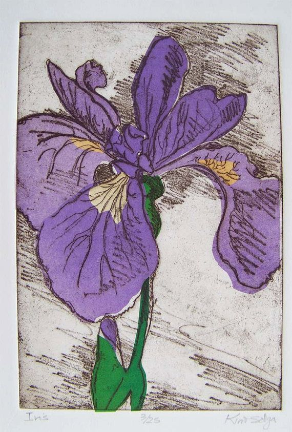 Iris softground etching with chine colle in purple by BlueOtterArt, $195.00