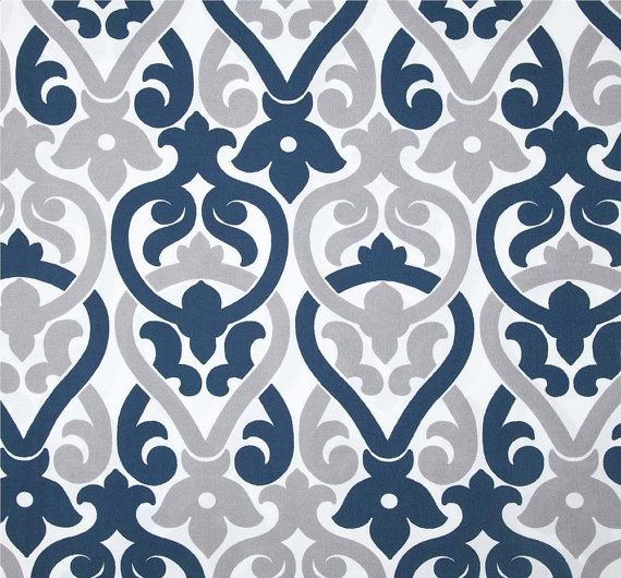 Indoor Outdoor Navy Blue & Grey Designer Fabric by by CottonCircle