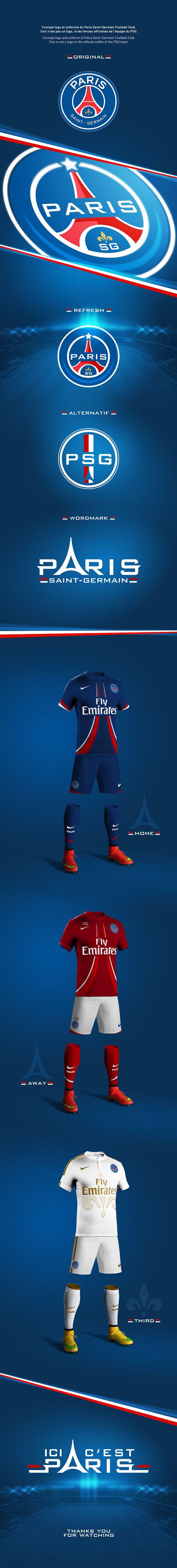 Graphic Design // Branding // Concept rebrand PSG football club on Behance