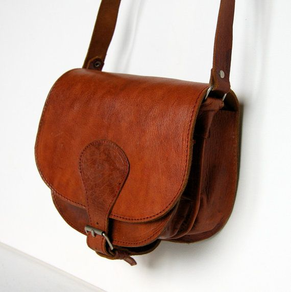 Vintage Brown Leather Saddle Messenger Bag Crossbody Purse Boho Hipster Small