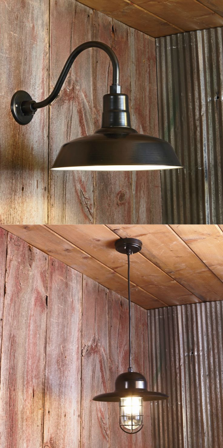Affordable barn light wall sconces and pendant lights. Add a warehouse feel to any room!