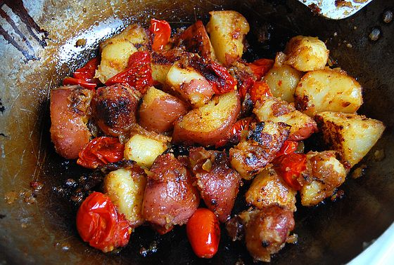 Monday Evening Quick-Roasted Potatoes - Inspired by Jamie Oliver Recipe but with Tomatoes and Red Pepper