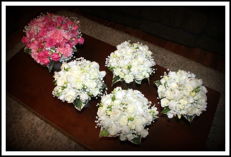 http://floralicious.wordpress.com/ Bride bouquet watermelon pink Maids Bouquets all white