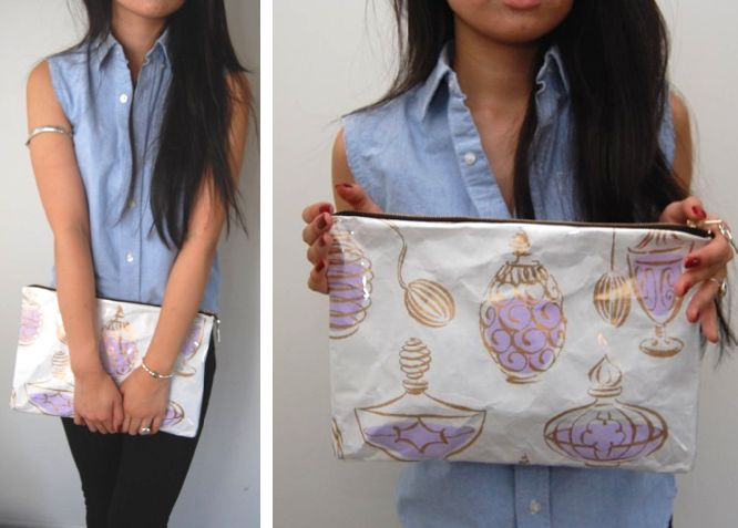 (studs and pearls): s diy: Gift Wrap Clutch! This would be cute to do with left over wrapping paper at Christmas time!