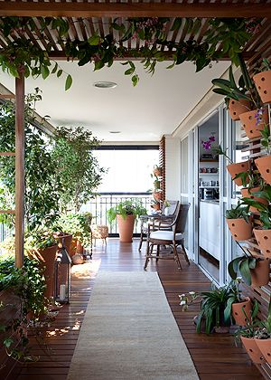 Repare no efeito da pérgola de cumaru com as trepadeiras   e o deque da mesma madeira, tudo feito pela Flora e Arte.   Cadeiras da Armando Cerello. Passadeira da By Kamy