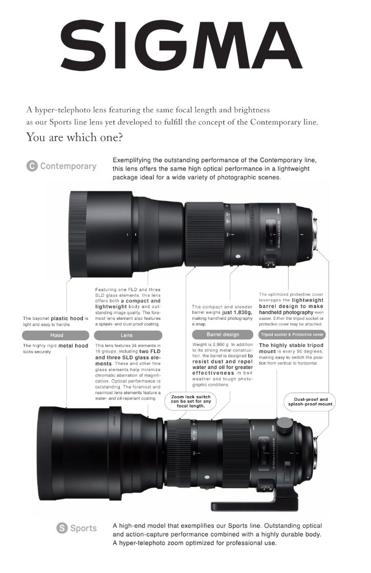 Sigma 150-600mm F5-6.3 DG OS HSM   Contemporary - A hyper telephoto lens featuring the same focal length and brightness as our Sports line lens yet developed to fulfill the Contemporary line. Which one is for you? The Sigma Global Vision website can help you answer that question. http://www.sigma-global.com/en/lenses/cas/product/contemporary/c_150_600_5_63/