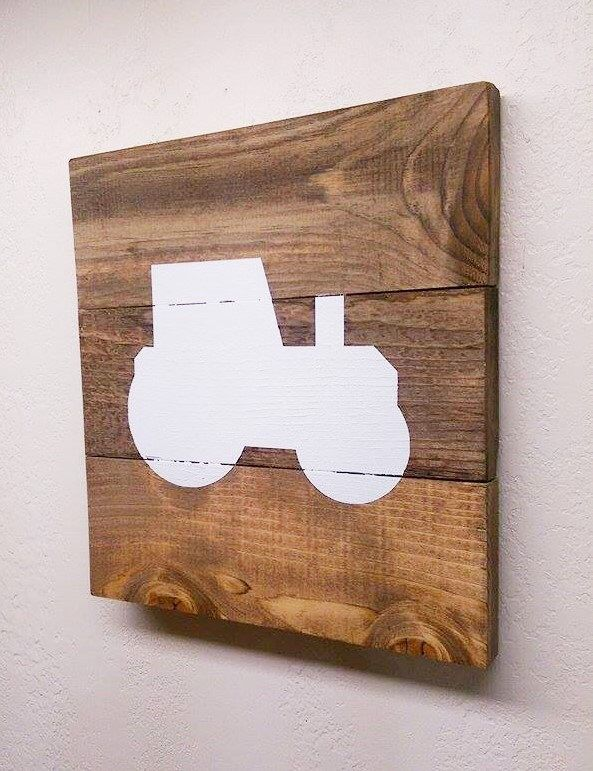 Small Tractor Wood Pallet Sign - Rustic Farm Art - Wooden Nursery Decor - Tractor Wall Art - Baby Boy Room Decor by ThePinkHammerShop on Etsy https://www.etsy.com/listing/266146029/small-tractor-wood-pallet-sign-rustic