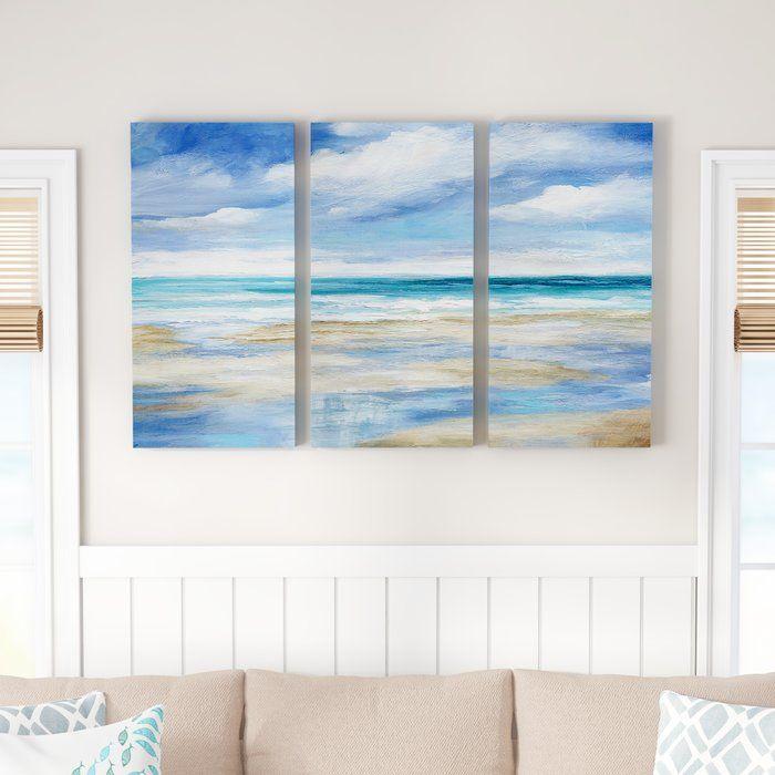 Washy Coast I 3 Piece Wrapped Canvas Acrylic Painting Set On