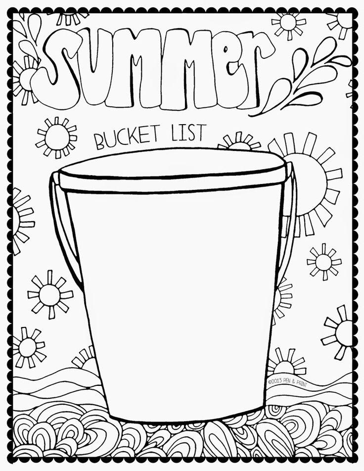 Summer Bucket List Coloring Page Sketch