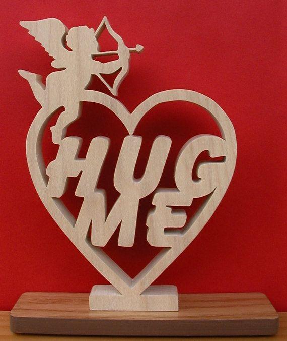 Hug Me Desk teken unieke Gift bezuinigen op de figuurzaagmachine 6.50W x 7 H. 3/4 dikke populieren hardhout Basis 1/2 rode eik Geweldig cadeau idee Klaar voor schip