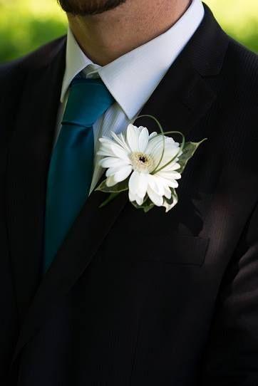 Wedding Flowers - White Gerbera buttonhole