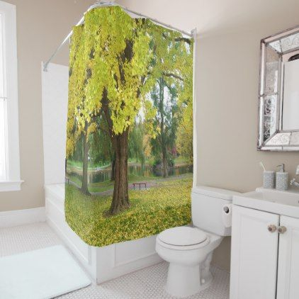 Golden Gingko Tree in the Fall Shower Curtain - golden gifts gold unique style cyo