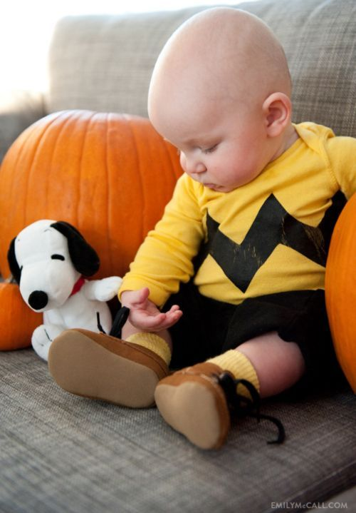 Charlie Brown Baby Costume. More Creative Baby Halloween Costume Ideas on Frugal Coupon Living.
