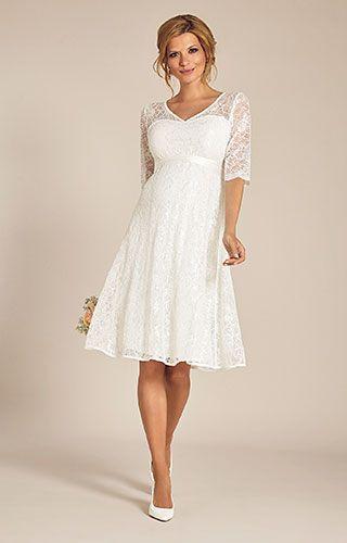 Flossie Umstands Hochzeitskleid kurz (Elfenbein) – Umstandshochzeitskleider, Abe…