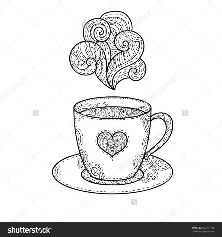 It is a picture of Smart Coffee Cup Coloring Page