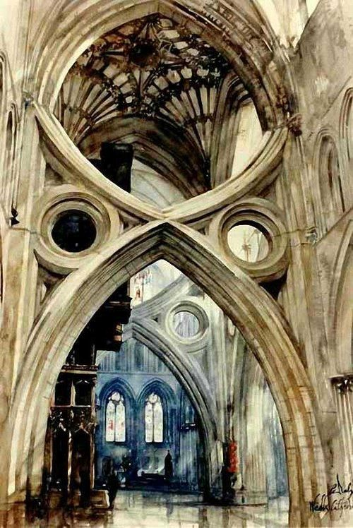 Wells Cathedral. Scissors arches were added centuries later to stabilize the sinking central tower.
