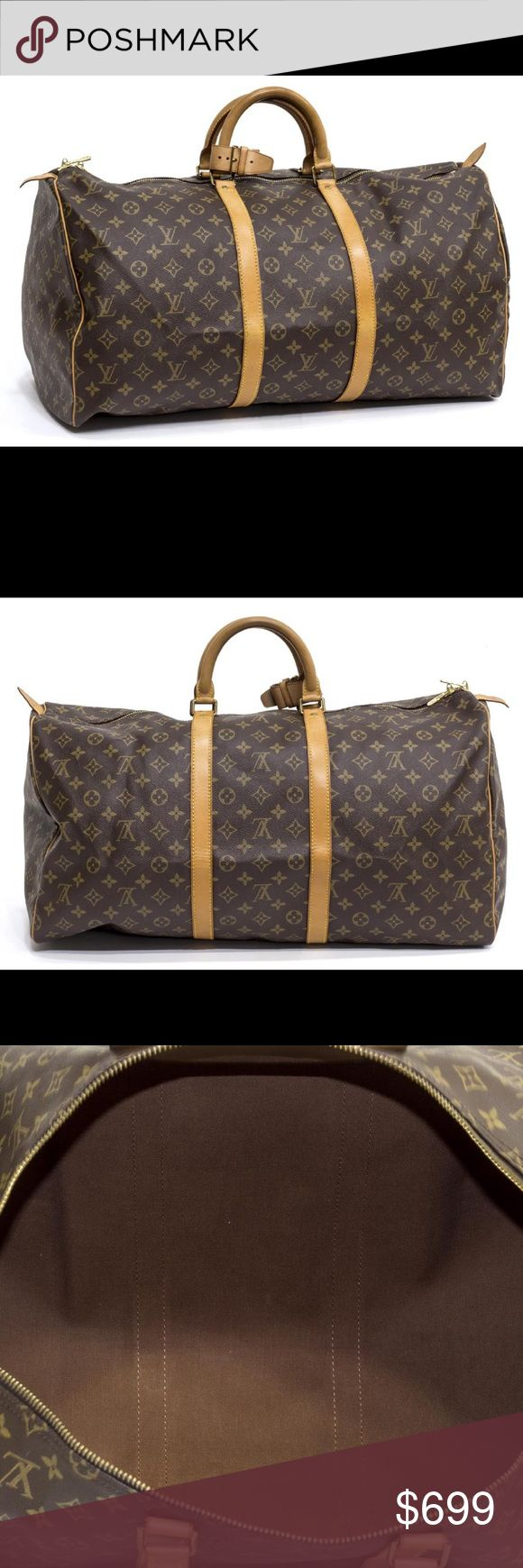 "LOUIS VUITTON 'KEEPALL 55' MONOGRAM CANVAS DUFFLE Louis Vuitton ""Keepall 55"" traveling duffle bag in monogram canvas, having leather handles, trim, and piping, zipped top opening to brown canvas lined interior, retaining handle strap, accompanied by certificate of authenticity, patination, spotting and creasing to leather, bag: approx 12""h, 21.5""w, 10""d, 2lbs Louis Vuitton Bags Travel Bags"